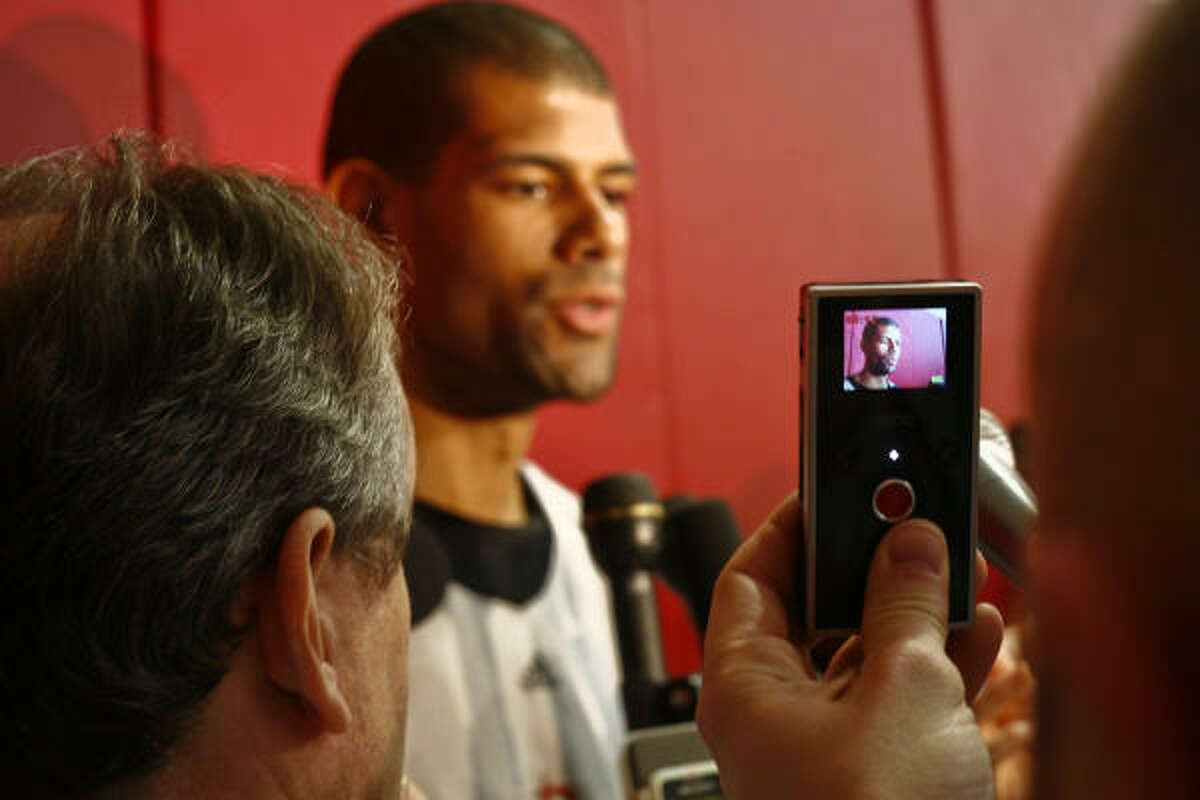 Shane Battier speaks to the media after practice.