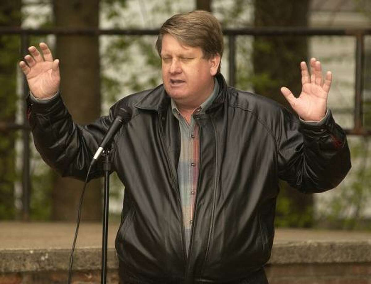 Pastor Jack Tyner leads a prayer during The National Day of Prayer event held at Page Park, in Bristol on Thursday evening.