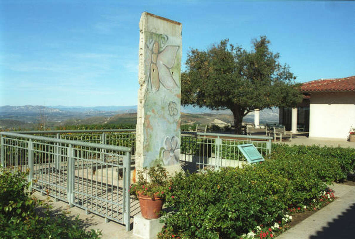 View of the piece of the Berlin Wall on the west side of the Ronald Reagan Presidential Library & Museum in Simi Valley, Calif.