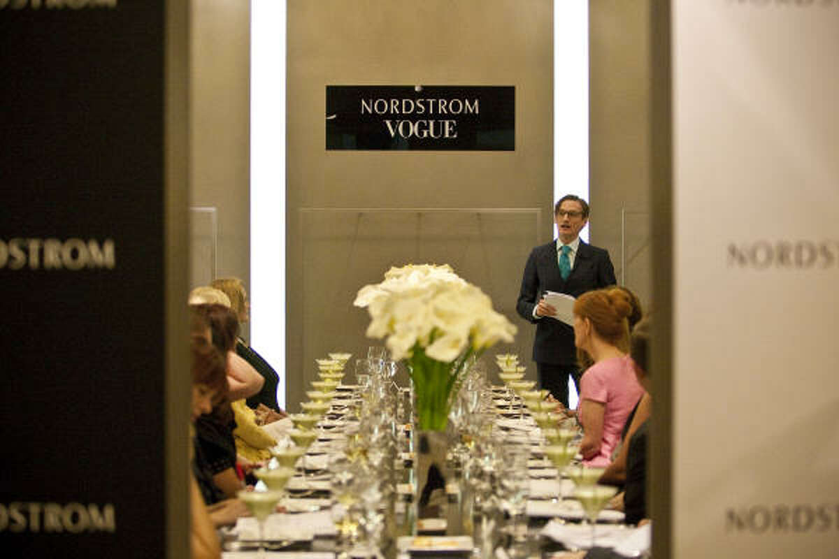 Vogue European editor at large Hamish Bowles spoke to a select crowd about what's coming for fall recently at Nordstrom during a luncheon benefiting the Museum of Fine Arts, Houston.