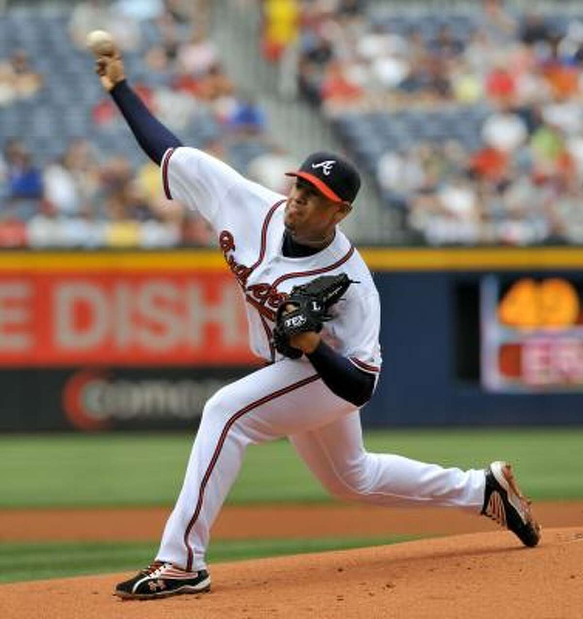 Atlanta Braves pitcher Jair Jurrjens started against the Astros. Jurrjens only pitched two innings due to the rain delay.