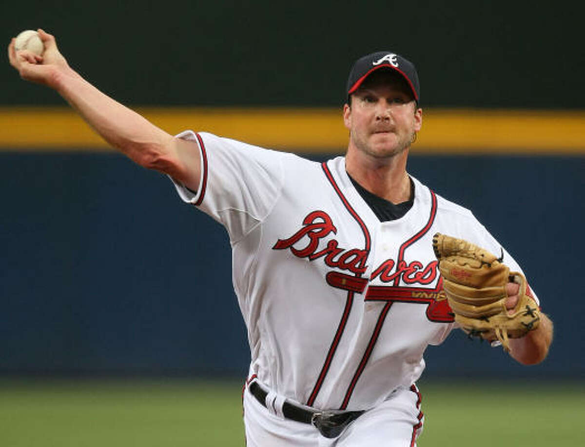 Atlanta Braves starter Derek Lowe lasted 6 2-3 innings and helped his situation by scoring a run in the fifth inning.