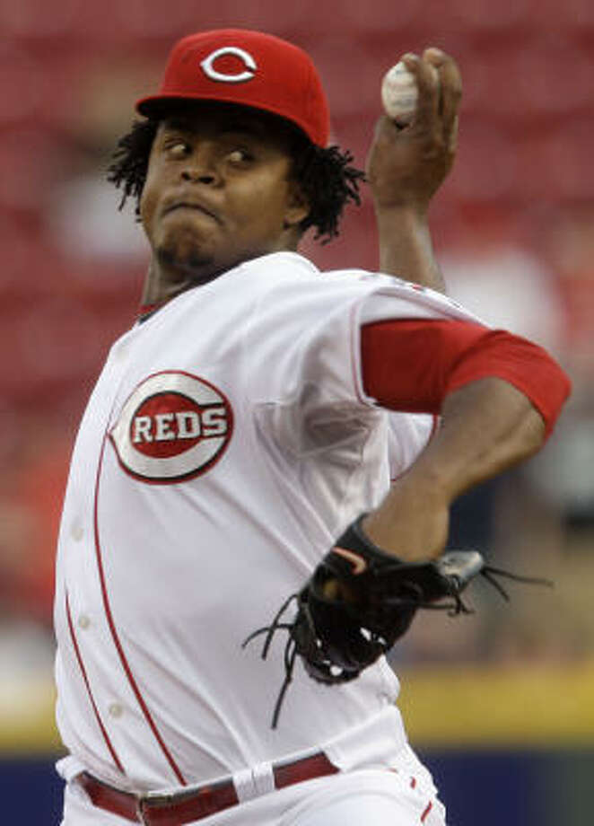 Cincinnati Reds pitcher Edinson Volquez threw eight scoreless innings to keep the Astros from their 12th consecutive win at Great American Ball Park. Photo: Al Behrman, AP