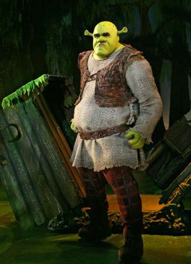 "In this image released by Boneau/Bryan-Brown, Brian d'Arcy James is shown as the title character in ""Shrek the Musical,"" now playing at the Broadway Theatre in New York. (AP Photo/Boneau/Bryan-Brown, Joan Marcus) ** NO SALES, MANDATORY CREDIT: Joan Marcus ** Photo: Joan Marcus, AP"