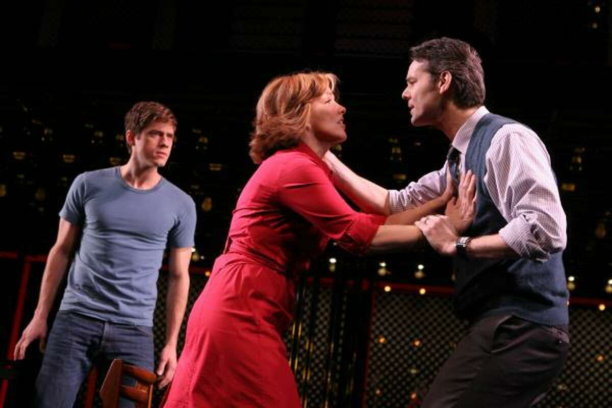 In this theater publicity image released by Barlow Hartman public relations, Aaron Tveit, left, Alice Ripley, center, and J. Robert Spencer are shown in a scene from,