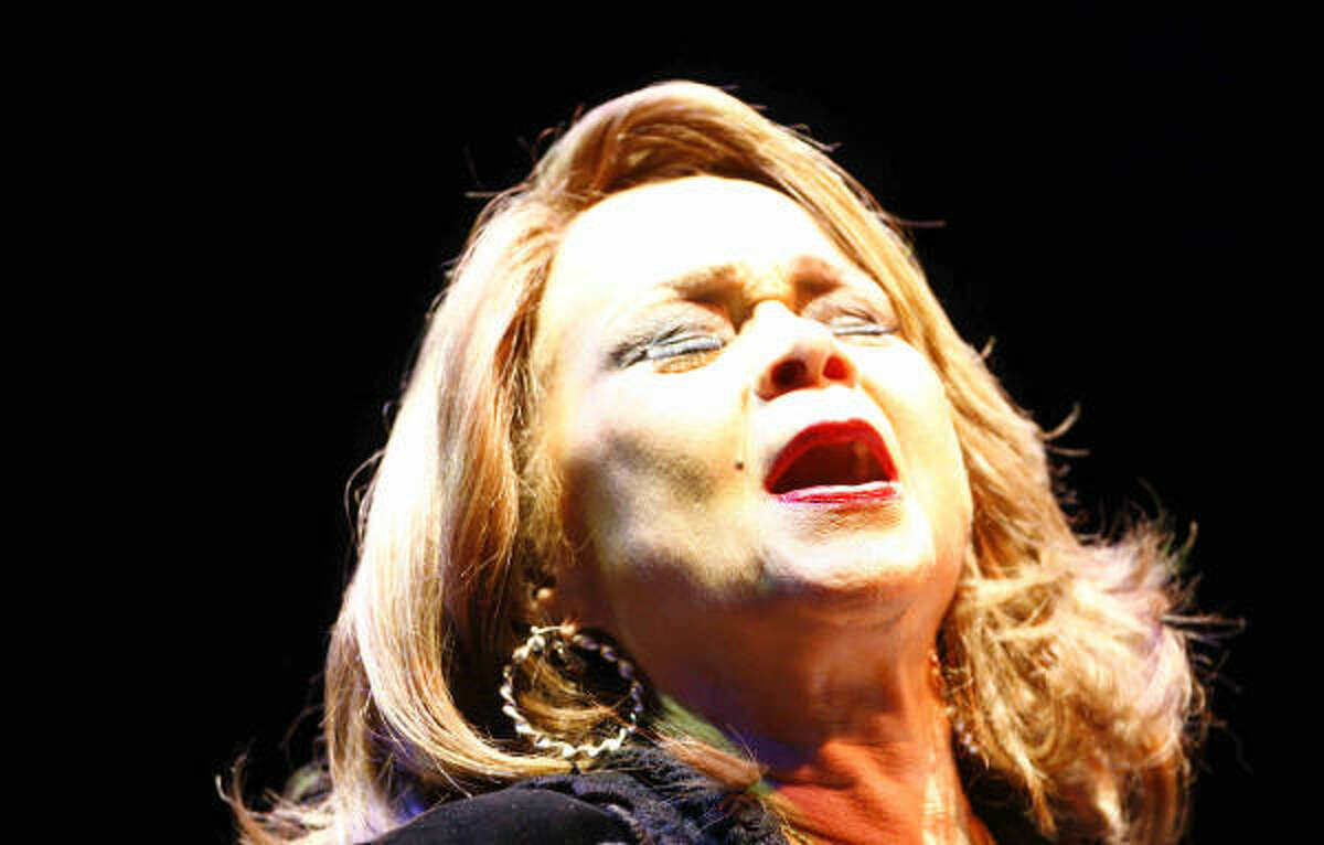 Etta James performs at The House of Blues Music Theater in Houston.