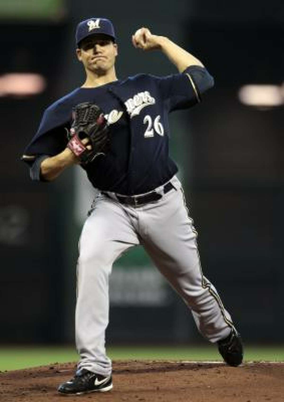 Brewers starter Manny Parra gave up three runs (one earned) in five innings.