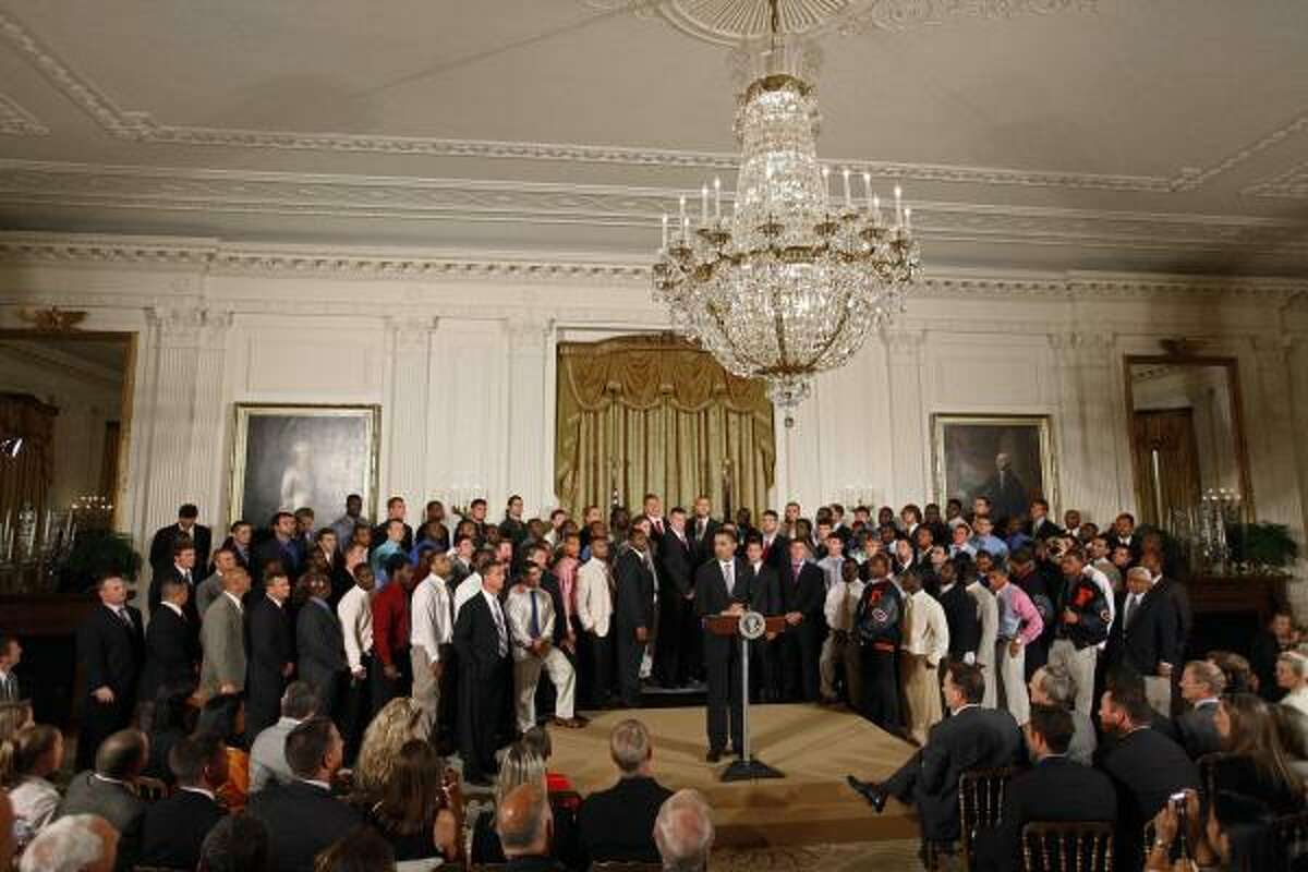 President Barack Obama honors the 2008 NCAA BCS champion Florida Gators in the East Room of the White House.