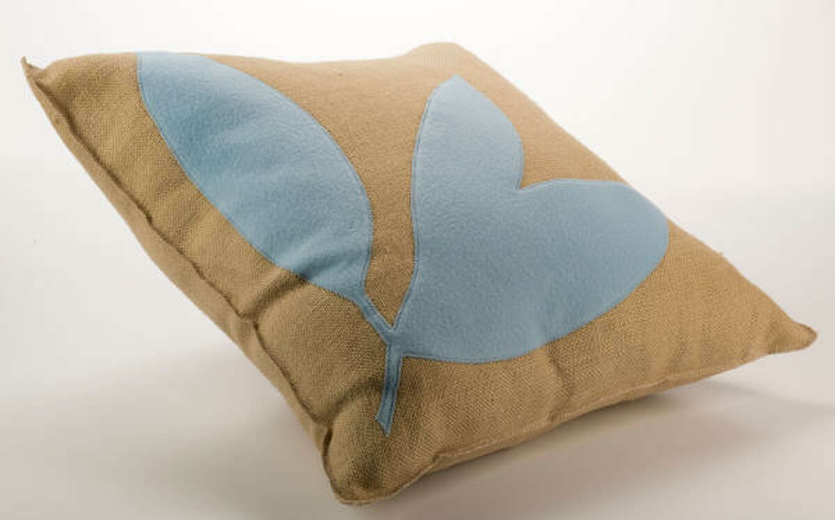 Square feathers burlap and felt pillow, $158, Found for the Home