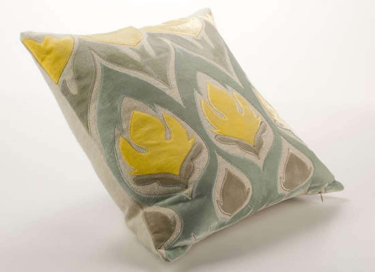 Tulipa yellow/grey cut velvet pillow, $300, Mecox Gardens