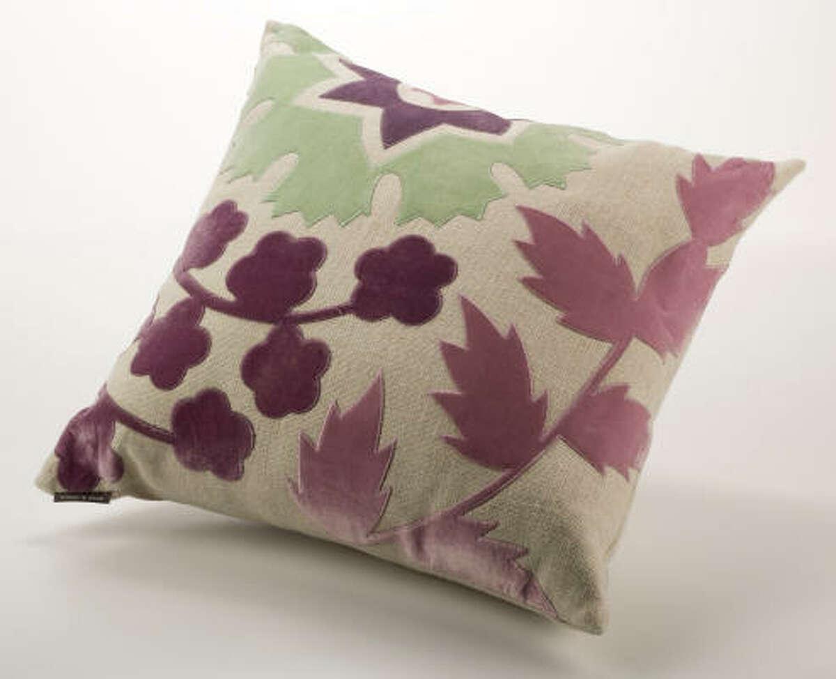 Artichoke lilac/jade green cut velvet pillow, $300, Mecox Gardens