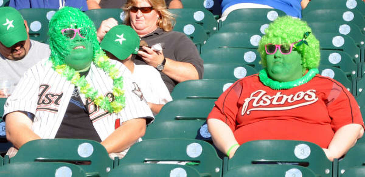 Date: April 22 Game: 2 Fan line: A couple of fans took the Houston Astros Play Green day at minute miad park to heart.