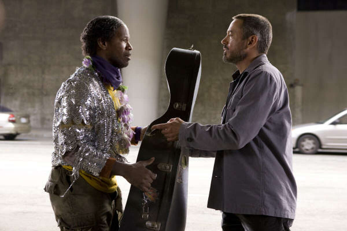 The Soloist : with Jamie Foxx and Robert Downey Jr. Nathaniel Ayers, a former musical prodigy turned homeless man, is discovered on the streets of downtown Los Angeles by newspaper columnist Steve Lopez.