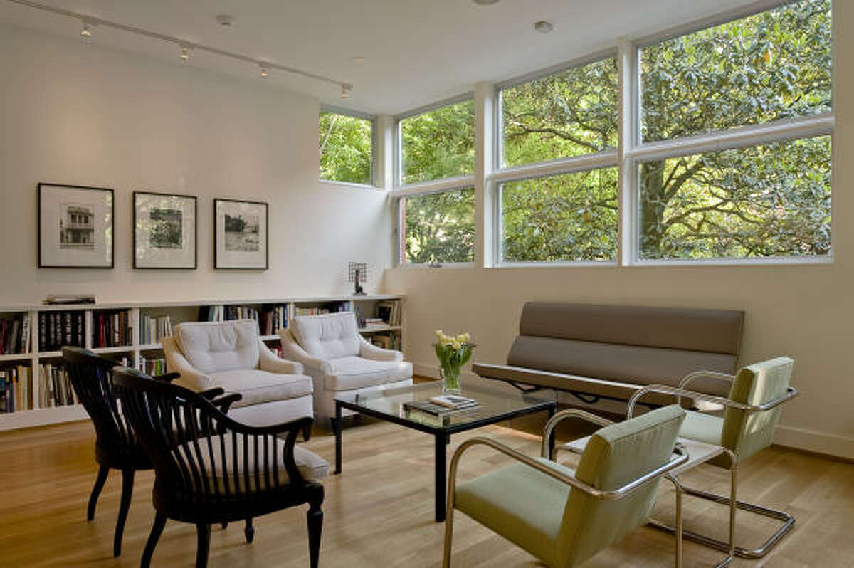 Big windows in the living room and throughout the house let in a lot of natural light.
