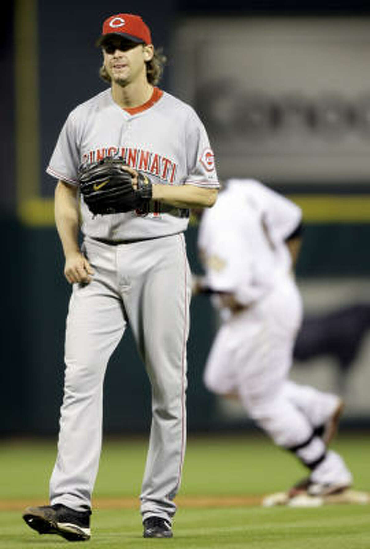 Reds starter Bronson Arroyo gave up back-to-back home runs to Lance Berkman and Carlos Lee in the sixth inning.