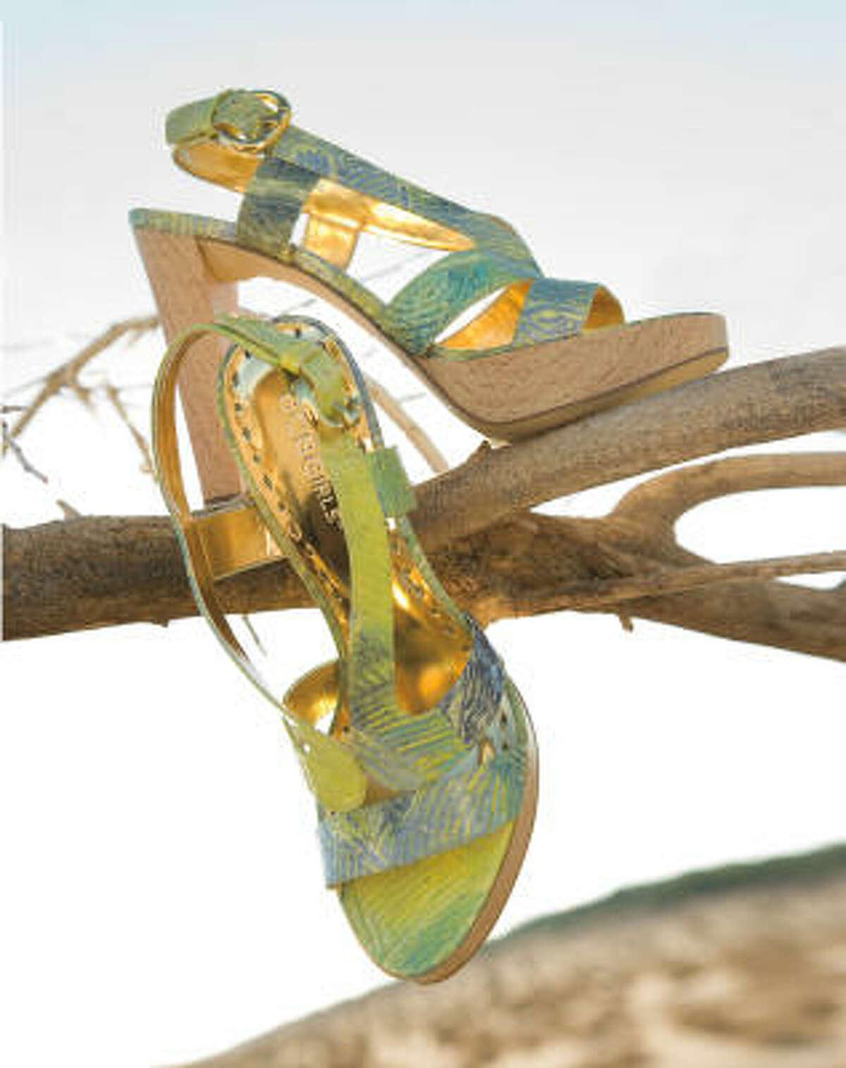 BCBGirls wall sandal in key lime art snake - $110, Macy's