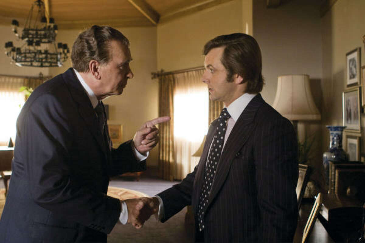 Frank Langella portrays Richard Nixon, left, and Michael Sheen portrays David Frost in Frost/Nixon.