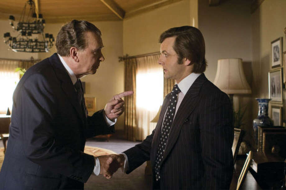 Frank Langella portrays Richard Nixon, left, and Michael Sheen portrays David Frost in Frost/Nixon. Photo: Ralph Nelson, AP