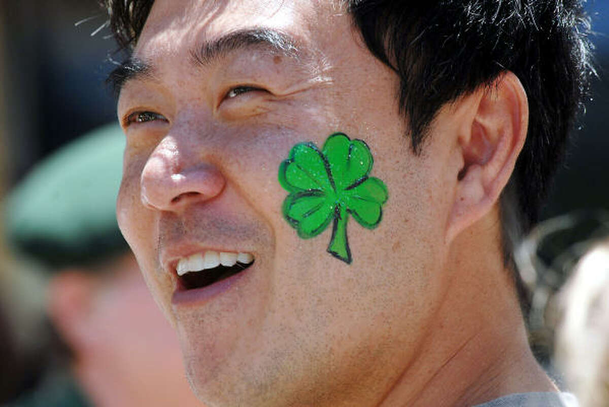 Sean Kim of Houston shows his Irish spirit.