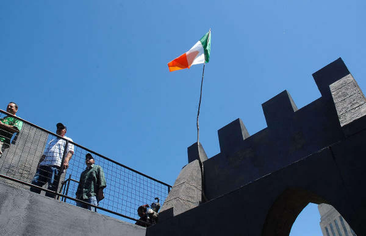Vistitors walk around the Blarney Castle display.