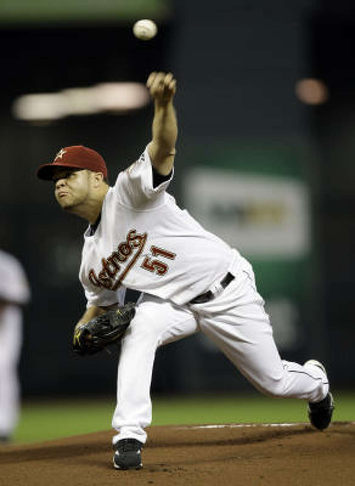 Astros pitcher Wandy Rodriguez made the start against the Reds.