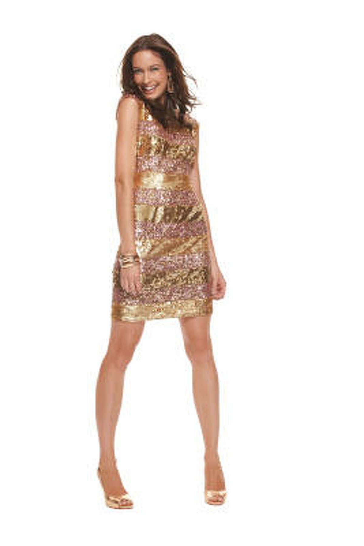 TJMaxx Gold Sequin Party Dress