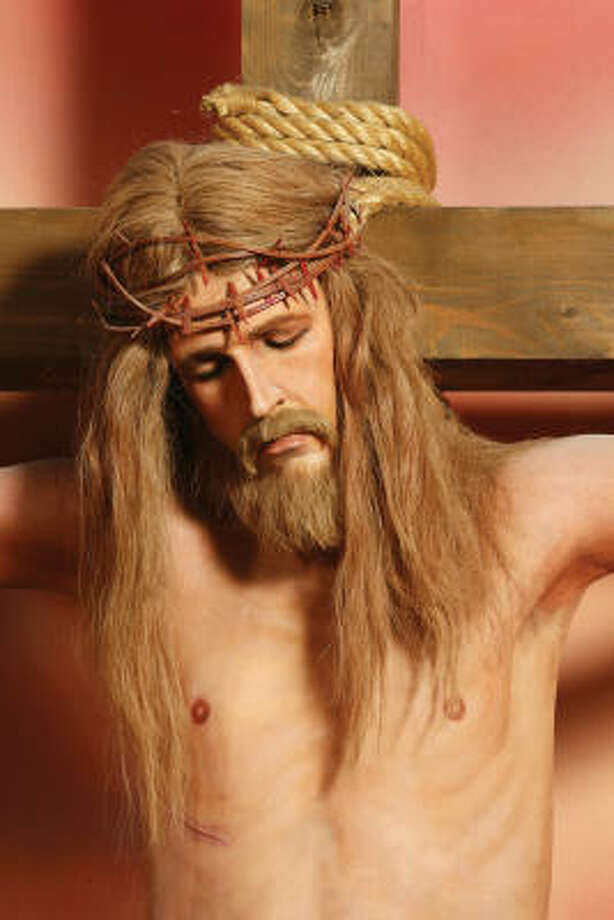 This wax statue of Jesus on the cross will go on the auction block May 1. The Hollywood Wax Museum hopes to get at least $2,000 apiece for several wax figures of Jesus. They are included with more than 200 wax figures, including top stars, musicians, athletes, and historical individuals from the Hollywood Wax Museum will be sold by Profiles in History, the world's leading Hollywood memorabilia dealer. Photo: Provided By Profiles In History
