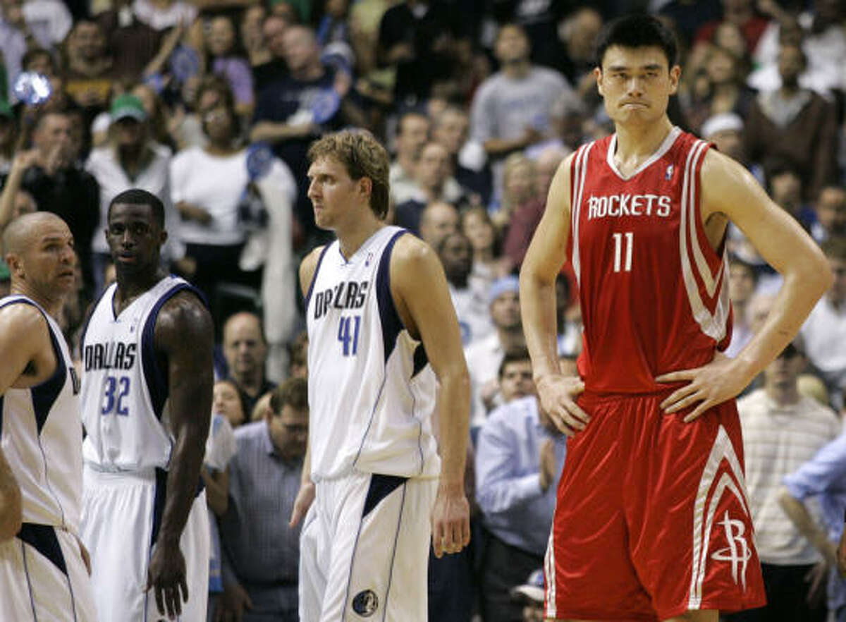 Rockets center Yao Ming shows some frustration in the final minutes of the loss to the Dallas Mavericks.