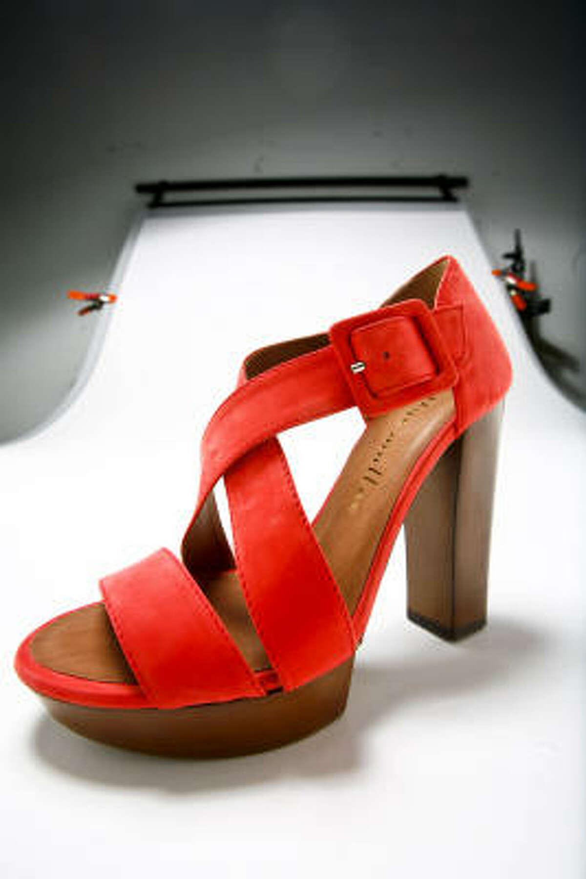 Bettye Muller coral sandal, $495, Tootsies.