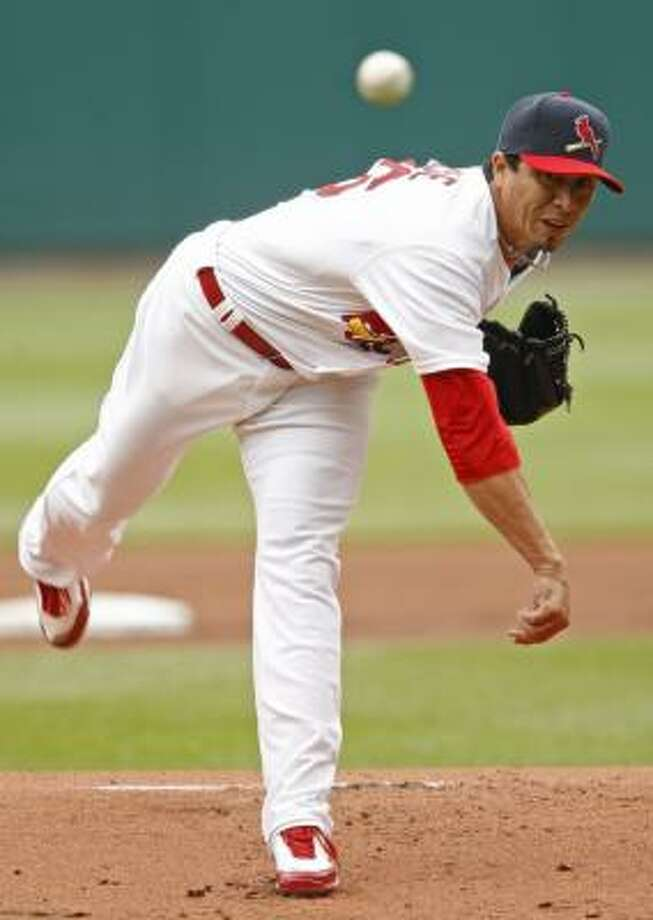 St. Louis' Kyle Lohse retired 24 consecutive Astros as the Cardinals completed the sweep with a 3-0 win. Photo: Tom Gannam, AP