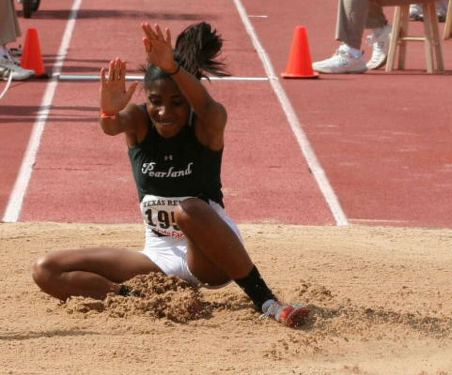 Whitney Rose, Sr., Pearland  Rose splashed onto the scene late last year and pulled out a state title in the triple jump. Now she looks to repeat. She's tops in the state in the event (40-83/4), and she also is third in the long jump (19-3). Photo: Gerald James, For The Chronicle