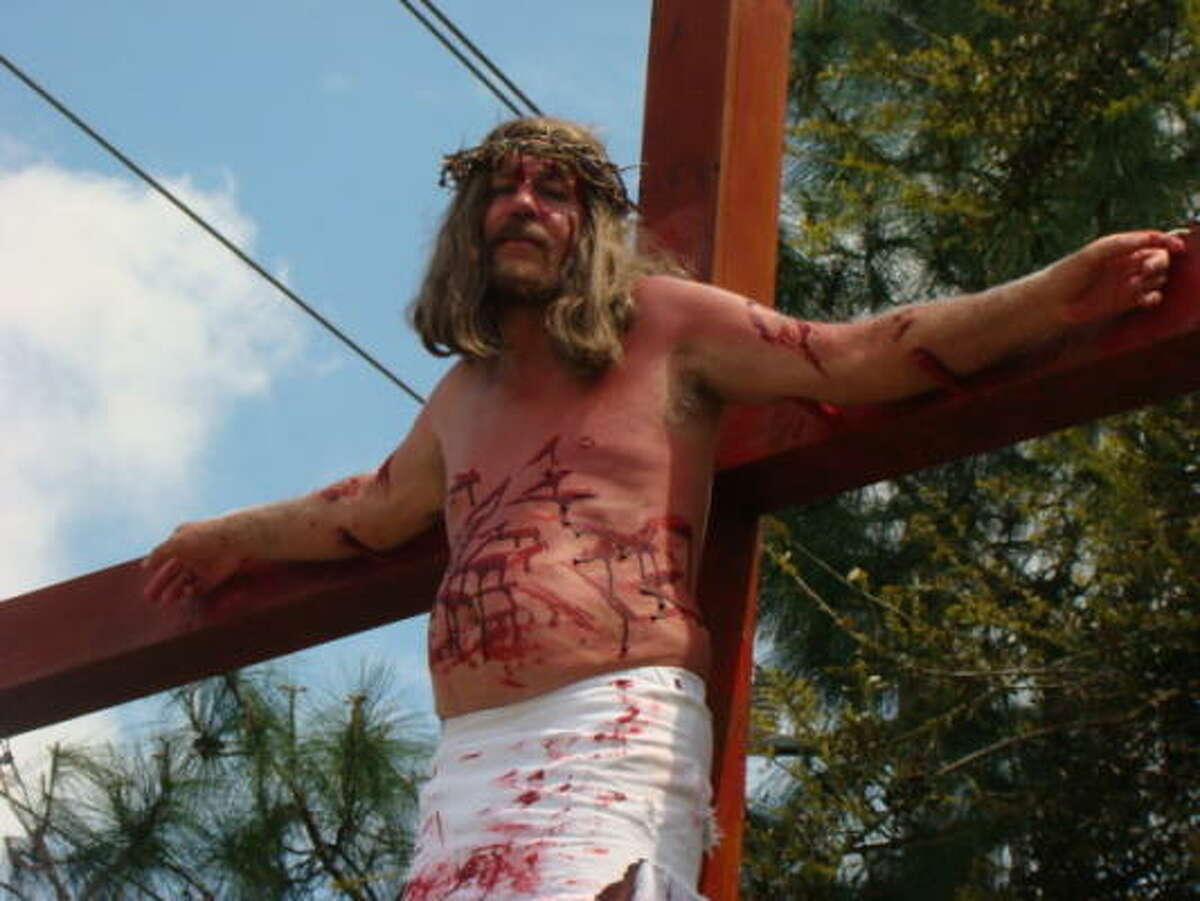 """Joe Gaston began this tradition in 2004, after surviving a collision with an 18-wheeler. He prepares by isolating himself beginning the Monday of Easter week. """"Up there on the cross … I want my mind at ease and strictly focused on the purpose,"""" he said."""