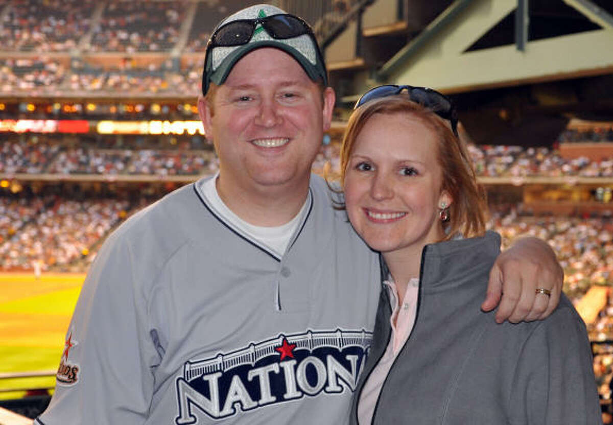Collin and Abby Taylor enjoy a beautiful night at Minute Maid Park.
