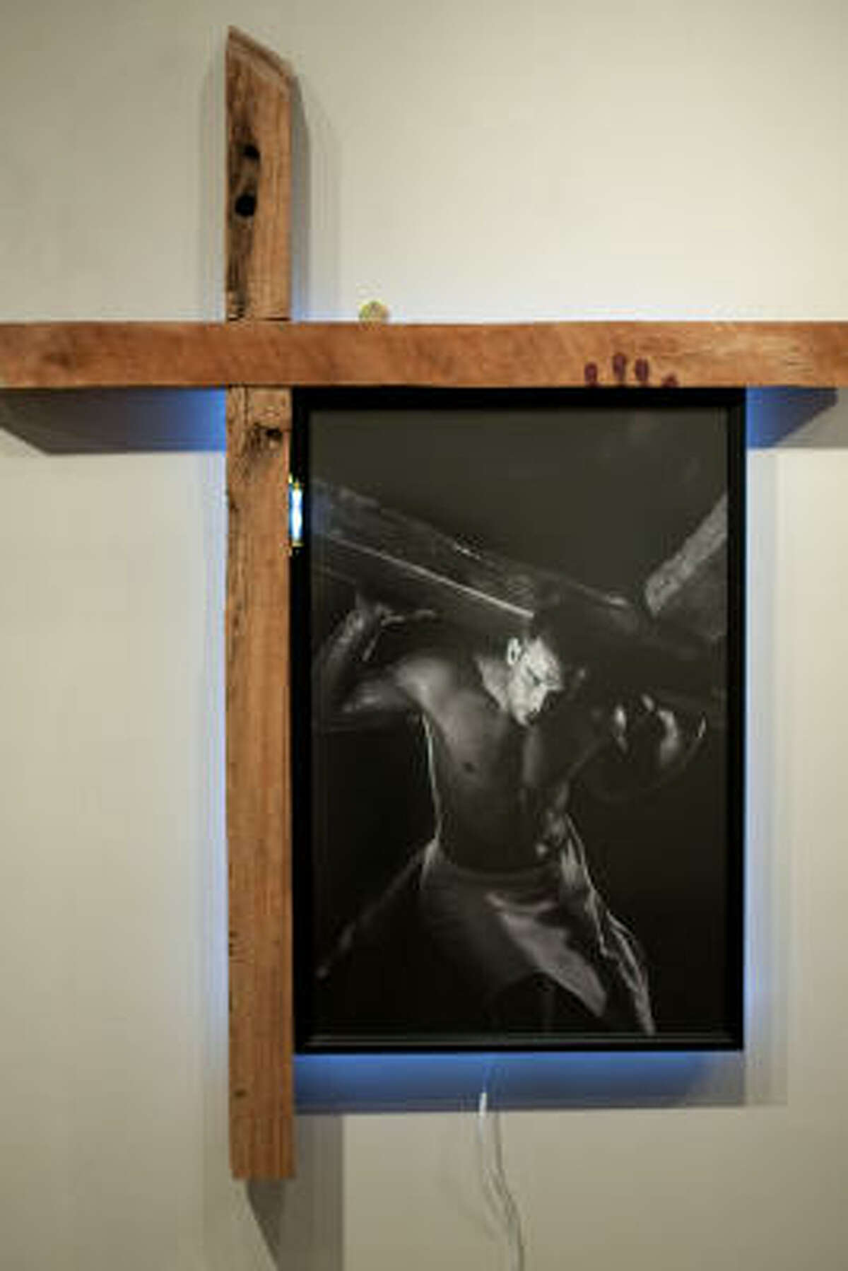 """""""Jesus Takes Up His Cross"""" by Jack Potts Potts designed this piece to show Jesus' strength and beauty as he submitted to God and carried his cross to Skull Hill."""