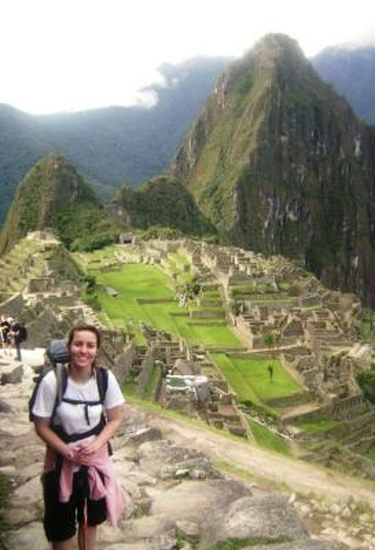 Grand-prize winner: Brooke Bellomy, pictured here in front of Machu Picchu, won a Carnival Conquest cruise based on her Wish You Were Here entry about Peru.