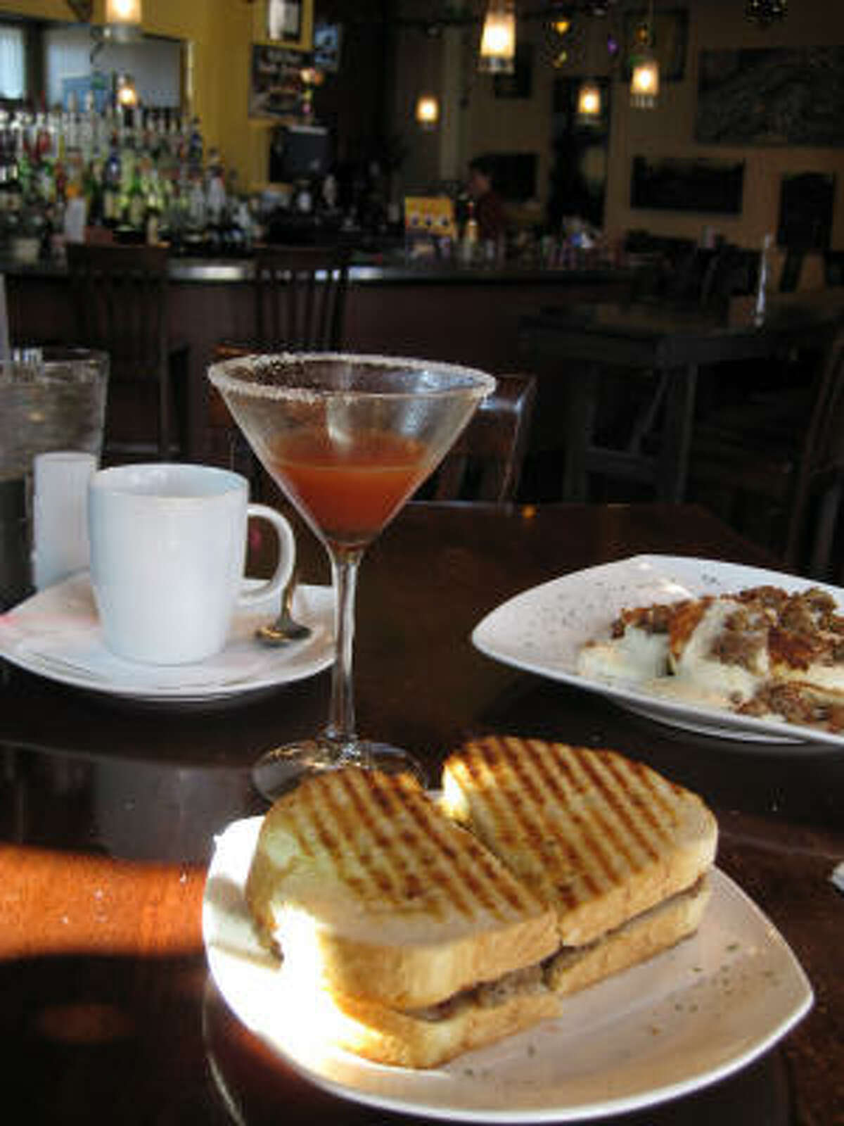 Van Goghz Martini Bar and Bistro offers breakfast paninis and Bloody Marys.