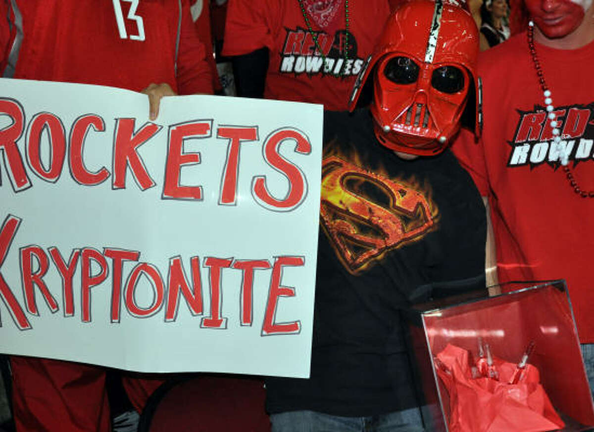 April 7, Magic at Rockets. Red Vader smuggled a few sticks of kryptonite into the Toyota Center with the hopes of weakening Dwight Howard.