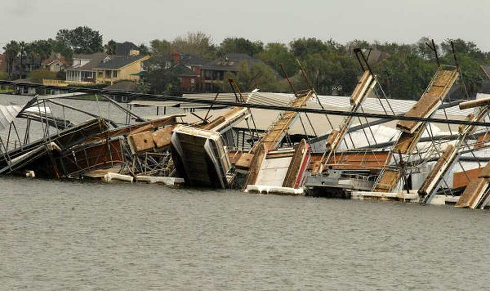 April Plaza Marina, 17742 Hwy 105 West on Lake Conroe, was hard hit by Hurricane Ike. Part of a boat