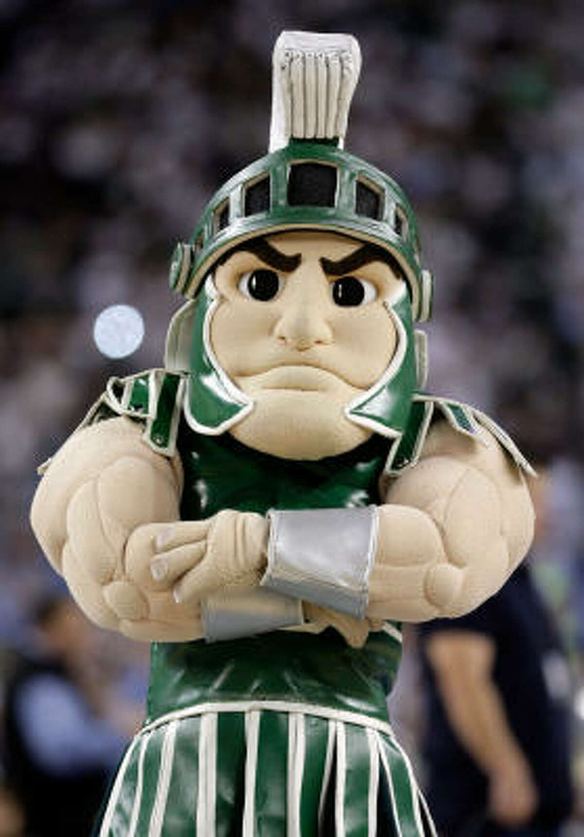 Sparty the mascot for the Michigan State Spartans looks on in the first half against the North Carolina Tar Heels.