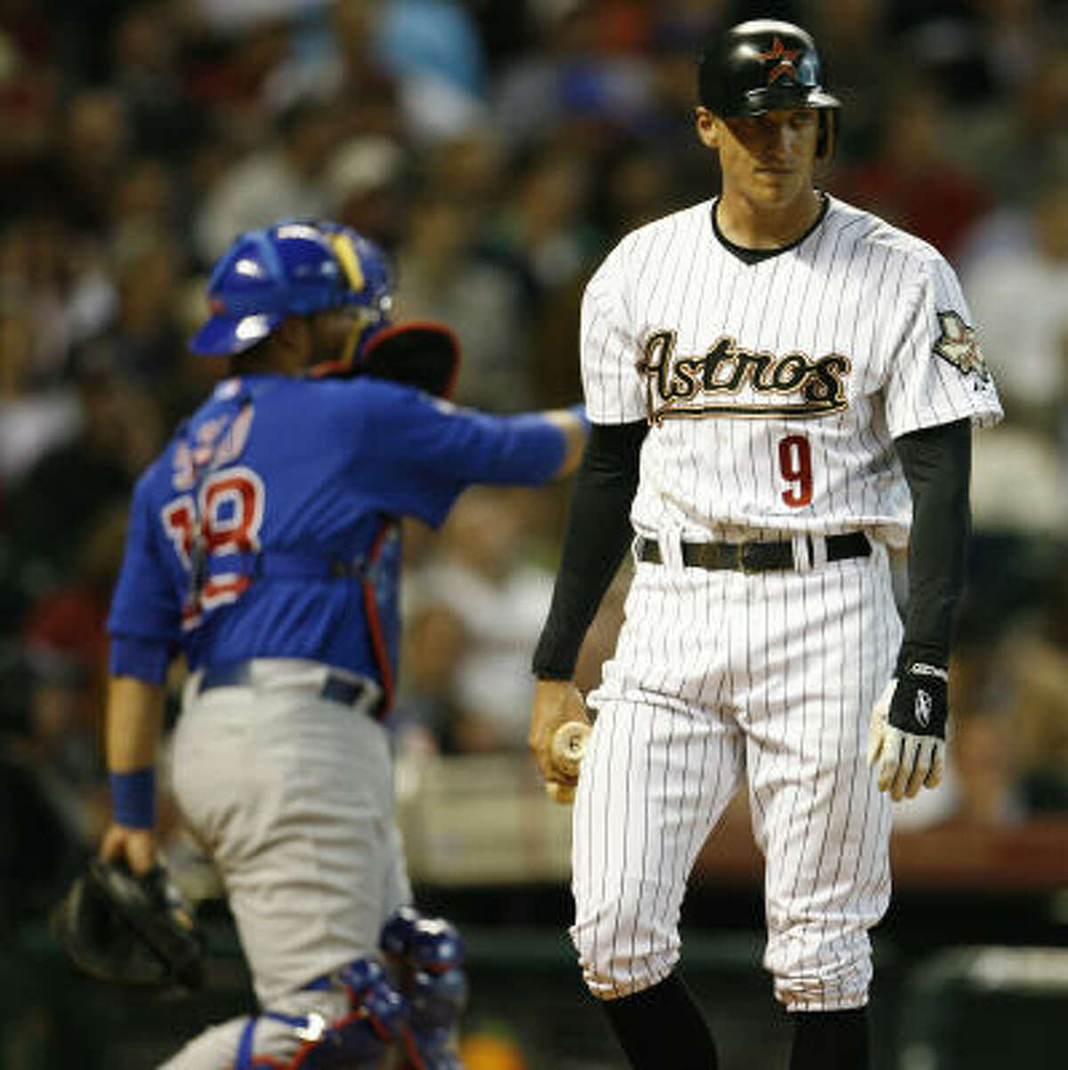 Hunter Pence reacts as he strikes out.