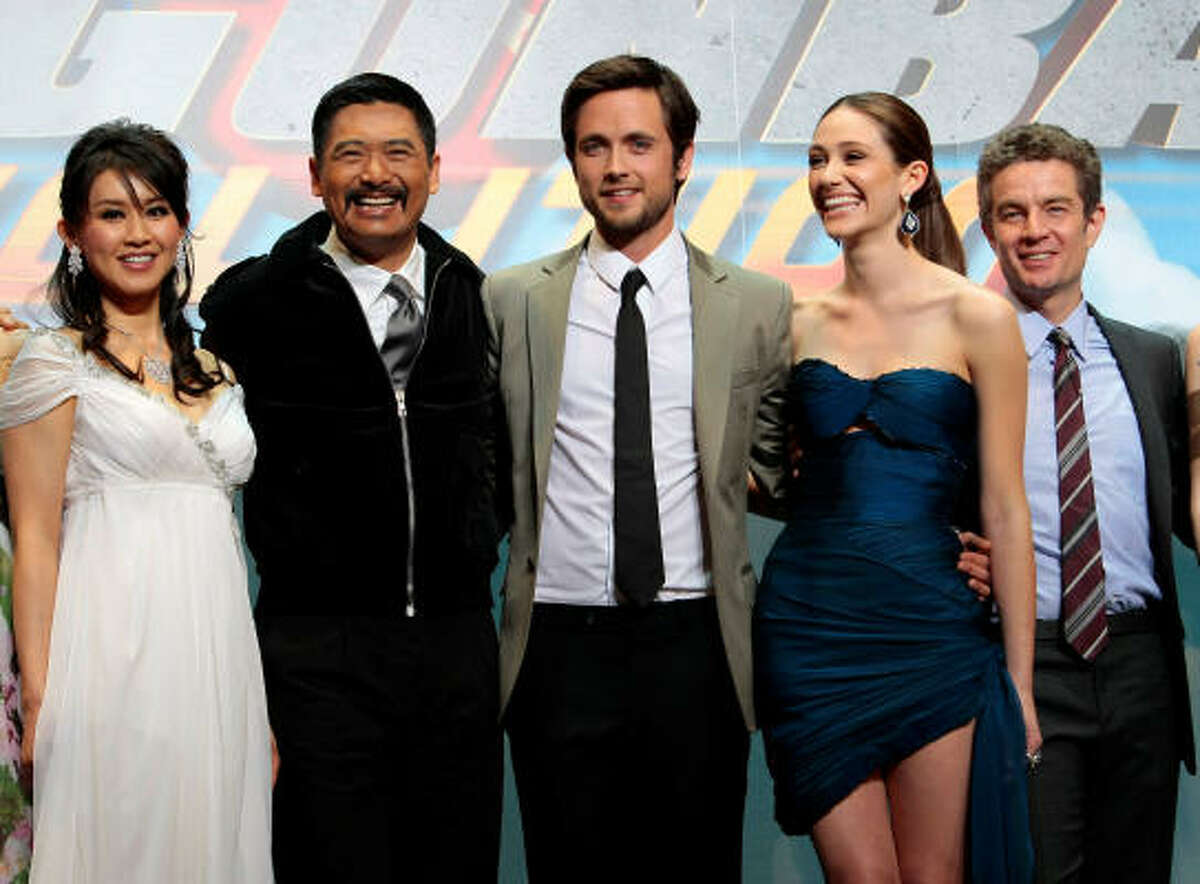 From left, Japanese actress Eriko Tamura, Hong Kong actor Chow Yun-Fat, Canadian actor Justin Chatwin, US actress Emmy Rossum, US actor James Masters star in Dragonball Evolution, the Hollywood adaptation of the famed Japanese cartoon series.