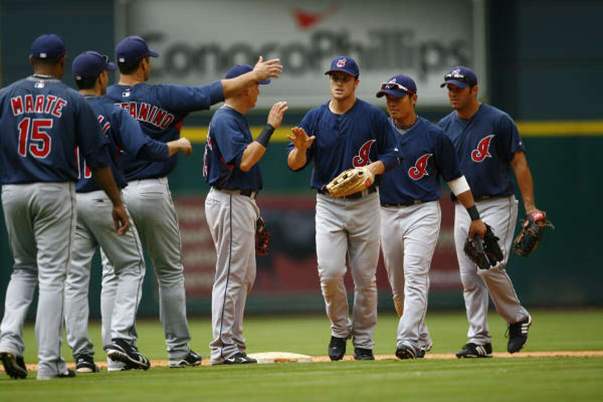 The Cleveland Indians celebrate their 4-3 victory over the Houston Astros.