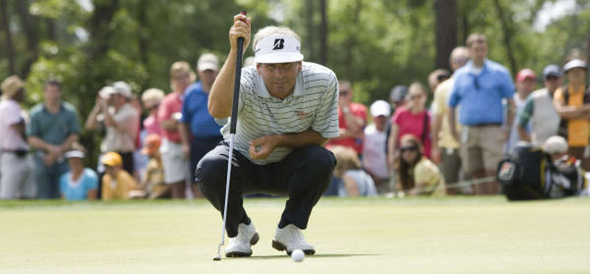 Fred Couples lines up his putt on No. 10 during the second round. He was 6 under through 36 holes.
