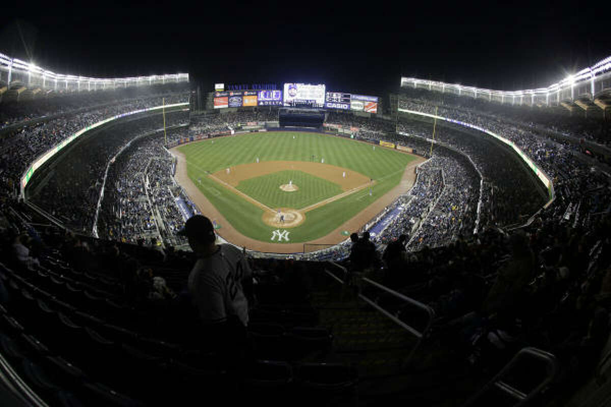 The New York Yankees play the Chicago Cubs during the third inning of a major league baseball exhibition game Friday, April 3, 2009 at the new Yankee Stadium in New York. The game is the Yankees' inaugural game at the new stadium.