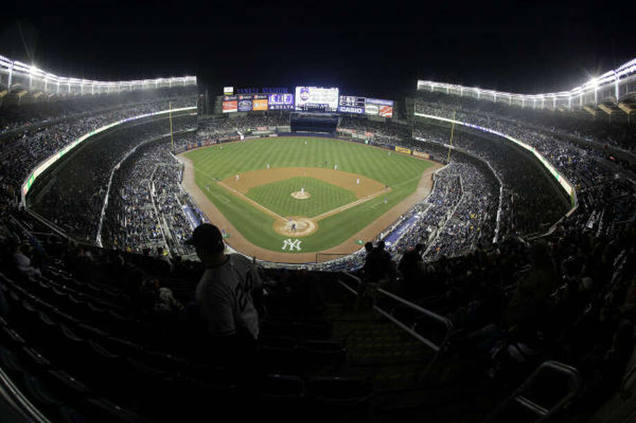 The New York Yankees play the Chicago Cubs during the third inning of a major league baseball exhibition game Friday, April 3, 2009 at the new Yankee Stadium in New York. The game is the Yankees' inaugural game at the new stadium. Photo: Julie Jacobson, AP
