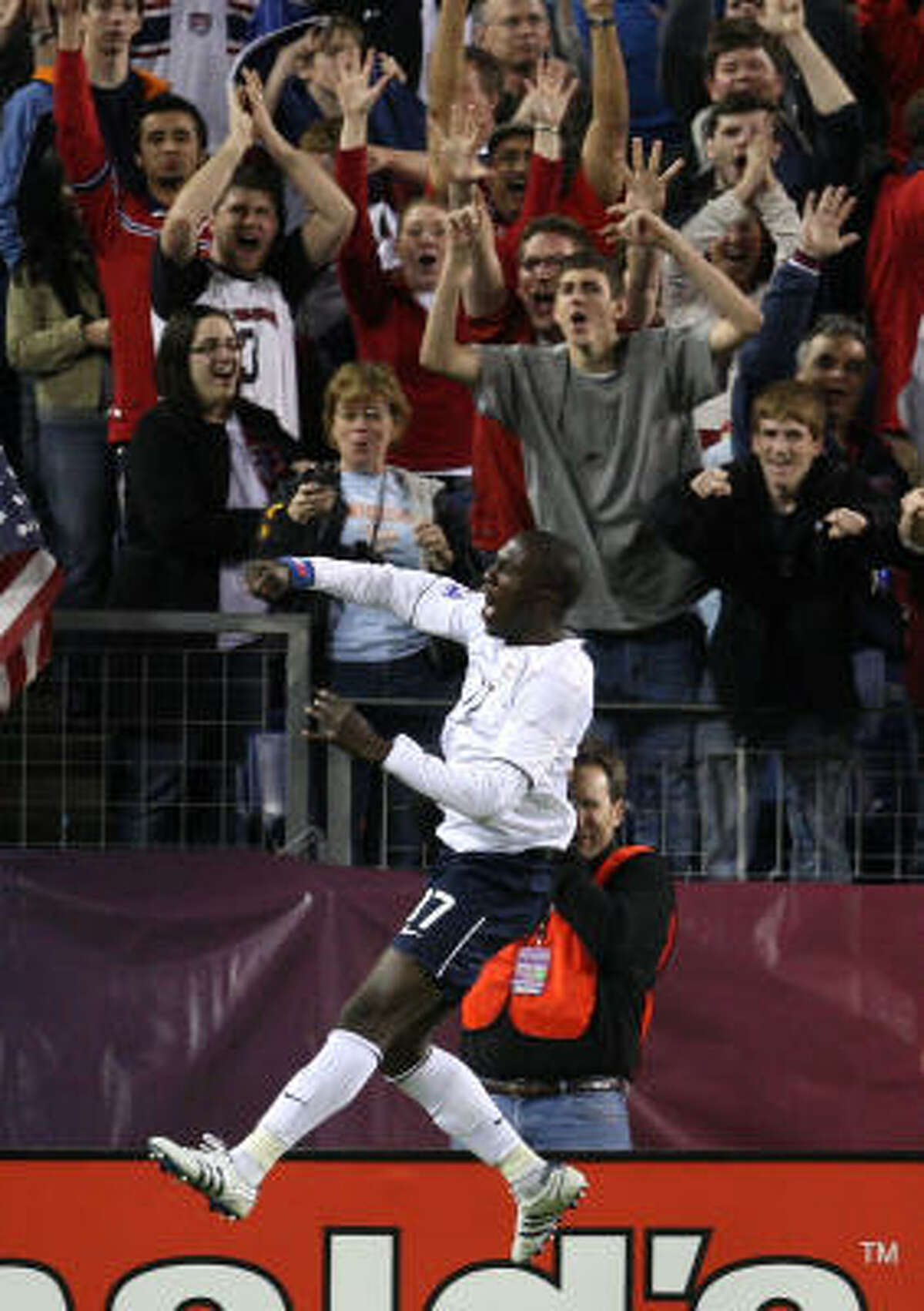 Jozy Altidore of the U.S. celebrates his second goal. Altidore scored all three U.S. goals.