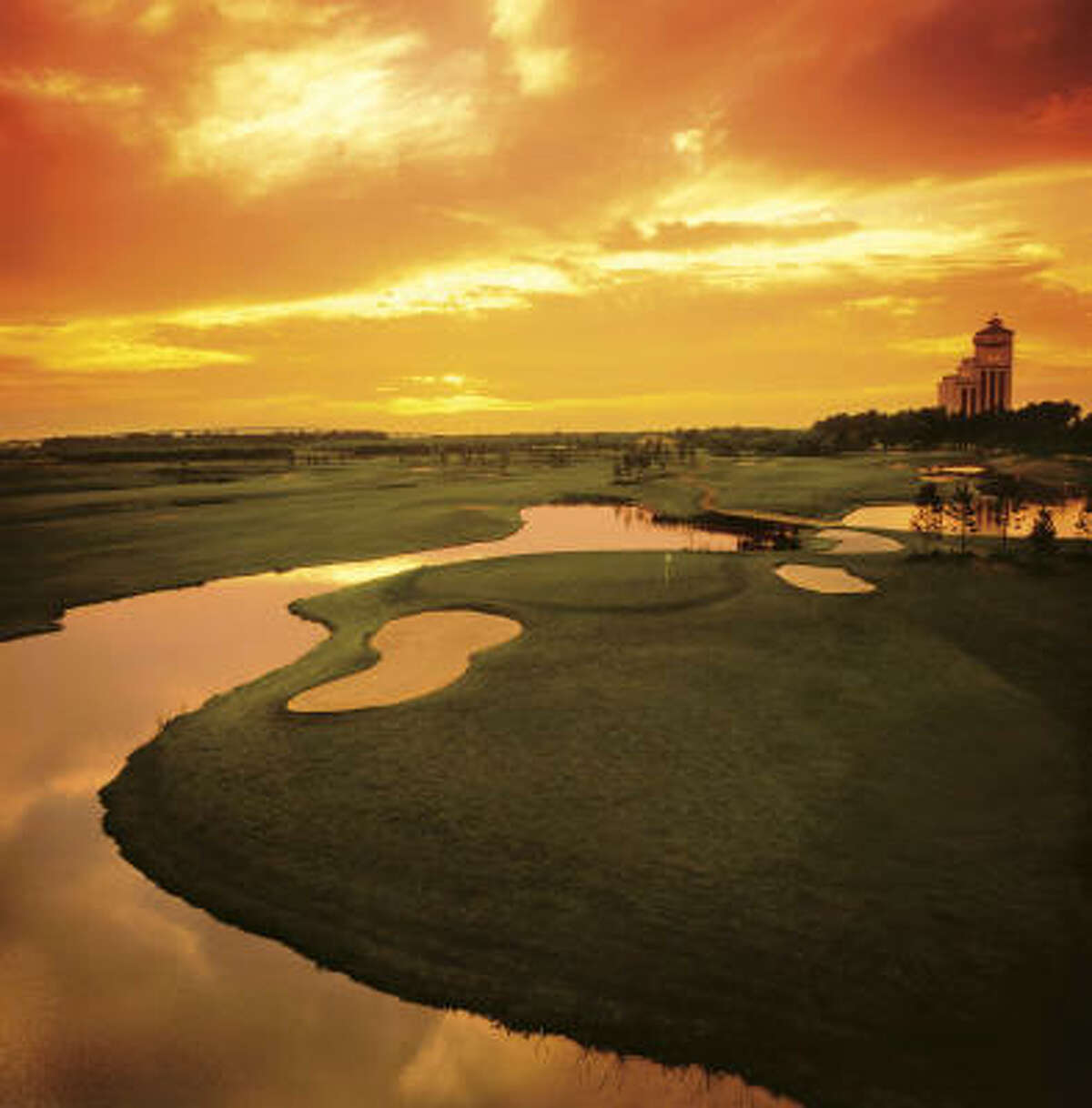 Contraband Bayou Golf Club, hole #17, at sunset at the L'Auberge du Lac Hotel & Casino in Lake Charles, LA