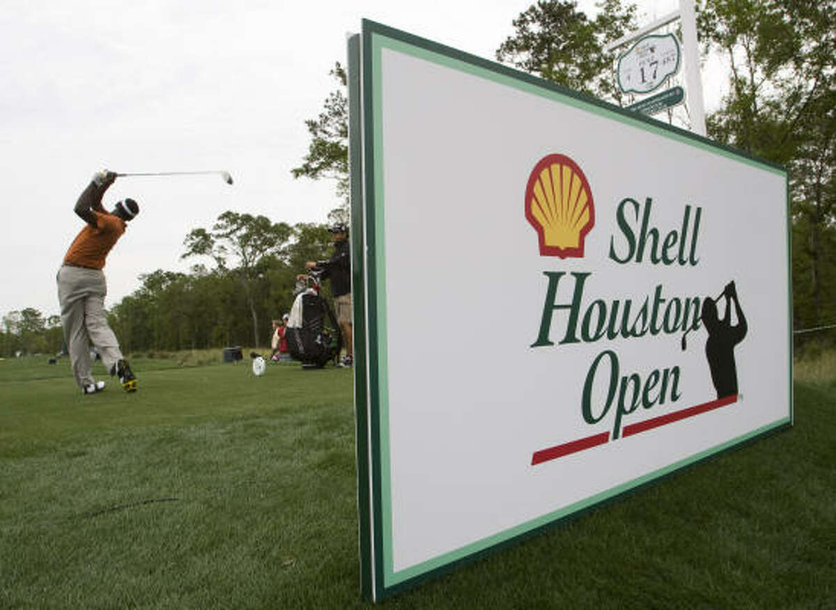 Vijay Singh tees off on No. 17 during the Shell Houston Open Grand Pro-Am.