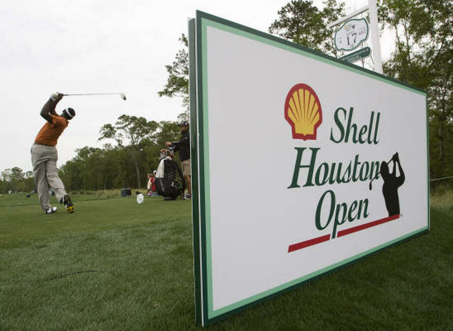 Vijay Singh tees off on No. 17 during the Shell Houston Open Grand Pro-Am. Photo: Brett Coomer, Chronicle