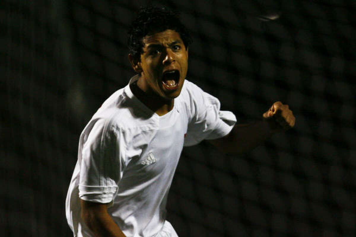 Katy forward Jose Ruiz celebrates after scoring a goal during a shootout.